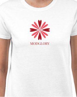 Ladies, 100% Cotton, White, ModGlory, Logo, Tee, Shirt